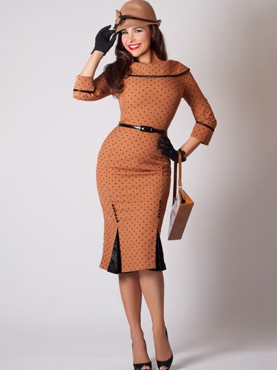 Brown Polka Dots Women's Bodycon Dress