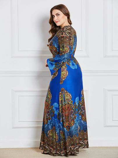Blue Lace up Plus Size Women's Maxi Dress