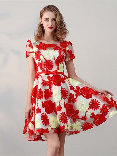 Ribbons Cap Sleeves Scoop Bowknot A-Line Short Homecoming Dress