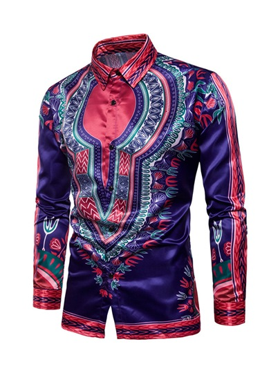 Dashiki Lapel African Ethnic Printed Totem Slim Fit Casual Men's Long Sleeve Shirt