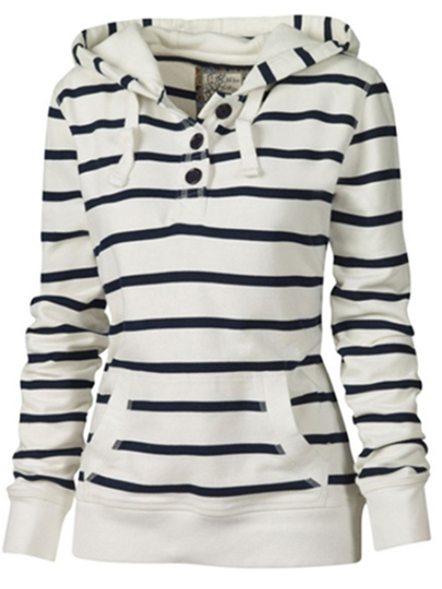 Stripe Women's Hoodie With Button Detail