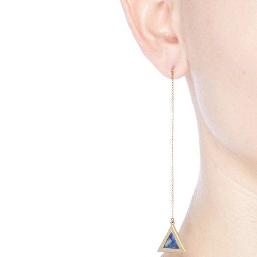 Triangle Blue Synthetic Stones Earrings