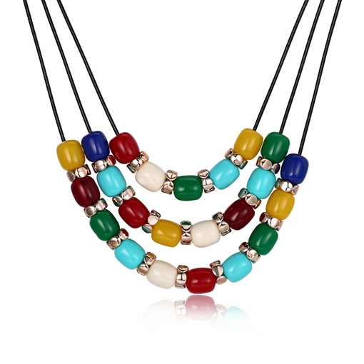Black Rope Colorful Plastic Geometric Multilayer Necklace