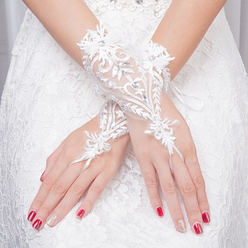 Appliques Beaded Fingerless Wedding Gloves