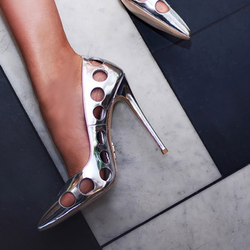Silver High Heels Hollow Slip On Pumps Dress Metallic Shoes