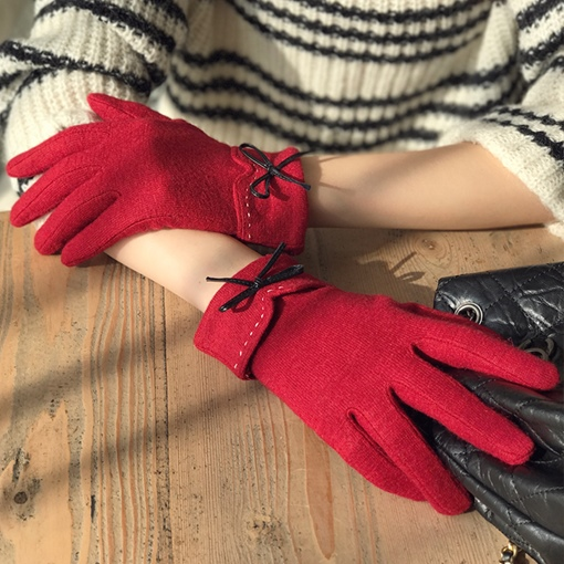 Wool Acrylic Bowknot Touch Screen Gloves
