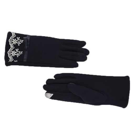 Bowknot Lace Solid Color Outdoor Gloves