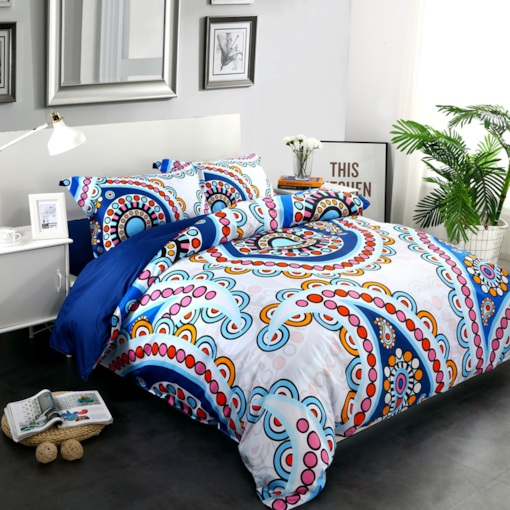 Multicolor Floral Paisley Pattern Exotic Style 4-Piece Cotton Bedding Sets