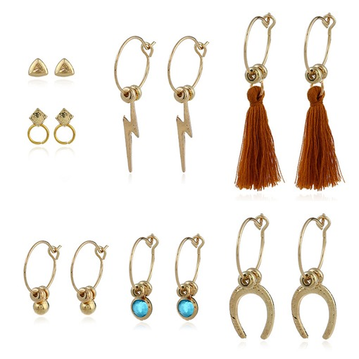 Lightning Shaped Stone Alloy Combination Tassel Earrings