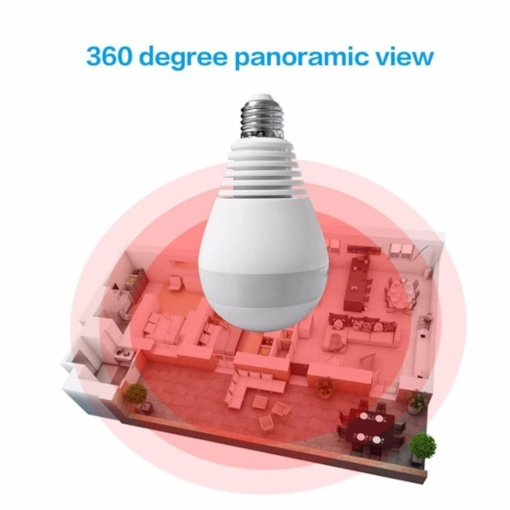 360degree Panoramic 1080P VR Camera LED Light Bulb WiFi FishEye CCTV Security Cam Without TF Card Slot