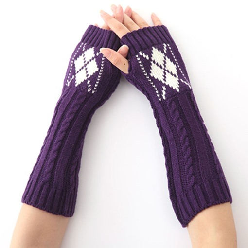 Rhombus Pattern Mitt Winter Warmth Gloves