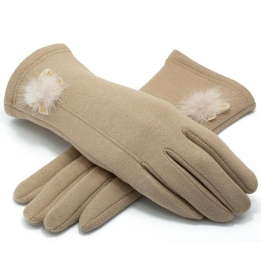 Fuzzy Ball Thicken Mirco Velvet Gloves