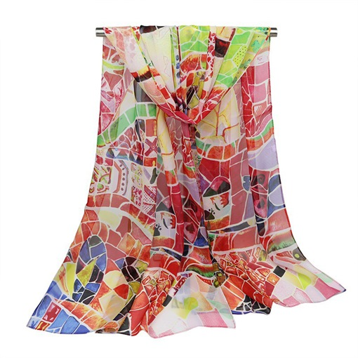 Plaid Geometric Pattern Chiffon Lighter Scarfs