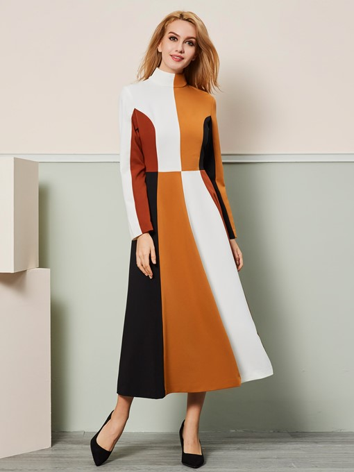 Wide-Striped Long Sleeve Women's Day Dress
