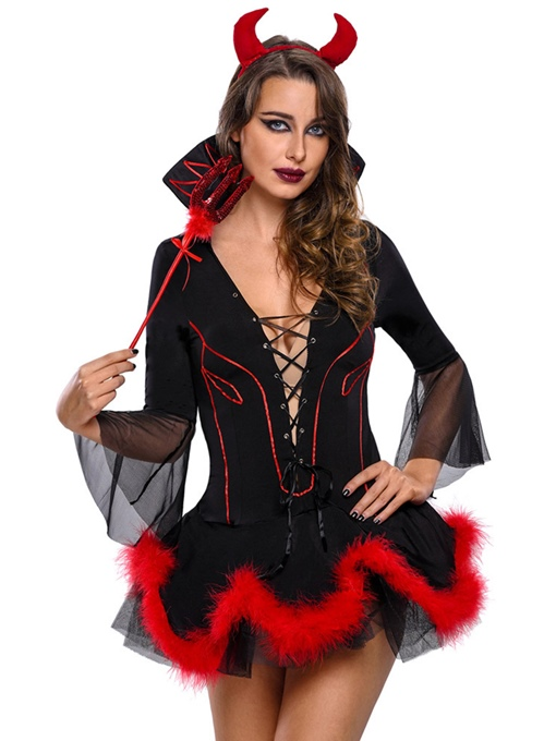 Nine Points Sleeve Lace-Up Sexy Demon Women Costume