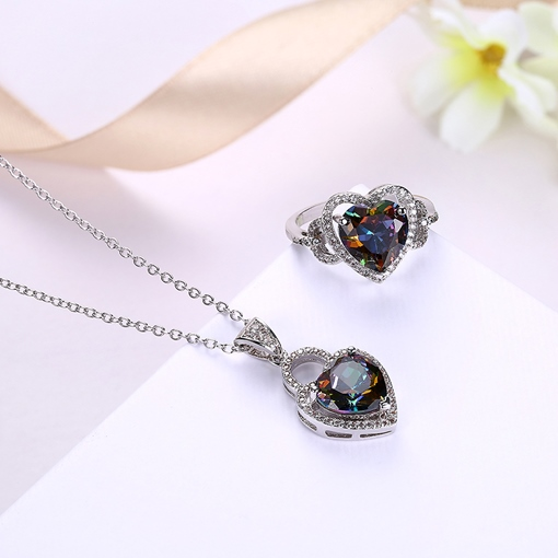 Hollow Out Diamante Heart Jack Chain Jewelry Sets