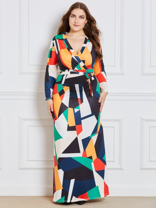 Plus Size Color Block Lace-Up Women's Maxi Dress