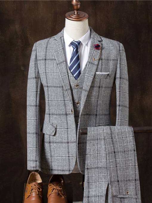 Multicolor Three Piece Sanding Plaid Collar Slim Fit Casual Men's Dress Suit