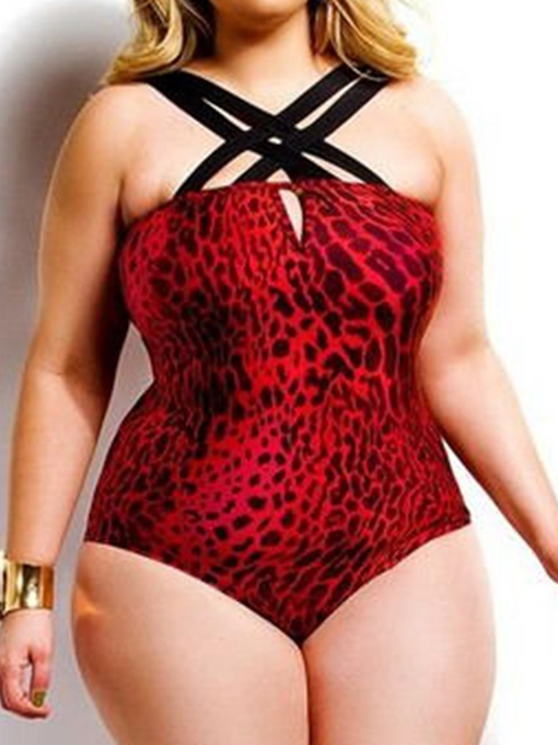 1a70cf15b0 Sexy Cross Bandage Print Plus Size One Piece Swimsuit