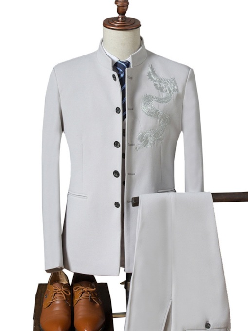 Chinese Style Embroidery Plain Slim Fit Men's Dress Suit