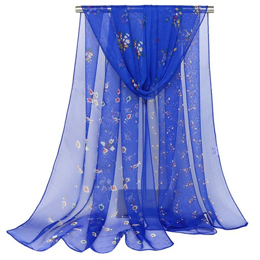 Floral Transparent Georgette Rural Style Scarfs