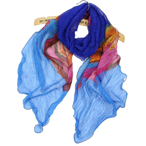 Crumple Design Silk Imitation Plant Scarfs