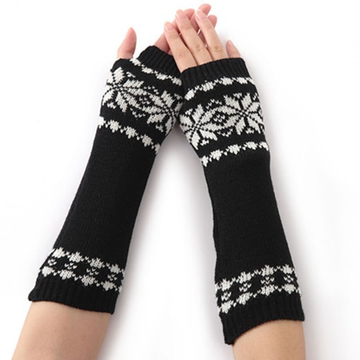 Snowflake Knitted Korean Style Mitt Gloves