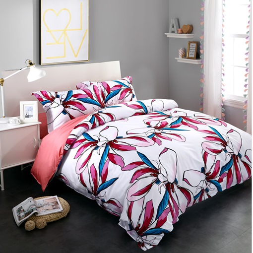 Gorgeous Colorful Magnolia Printed 4-Piece Cotton Bedding Sets