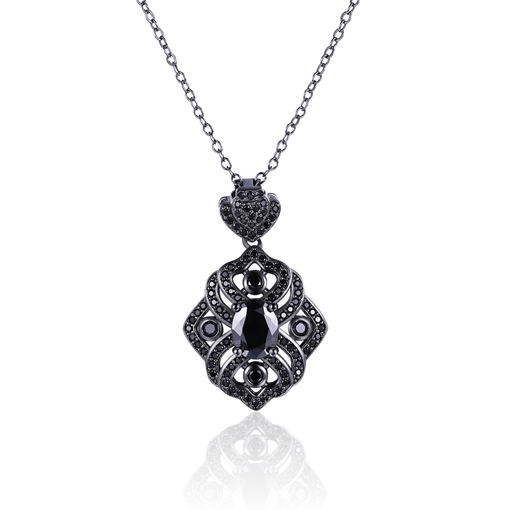 Black Coating Hollow Out Zircon Geometric Necklace