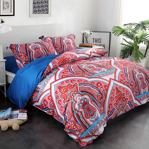 Floral Paisley and European Architecture Pattern 4-Piece Cotton Bedding Sets