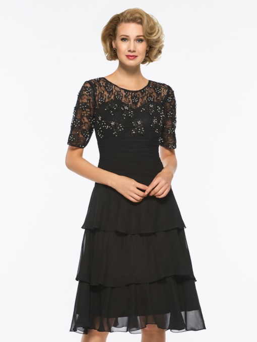 Beading Lace Knee-Length Mother Of The Bride Dress