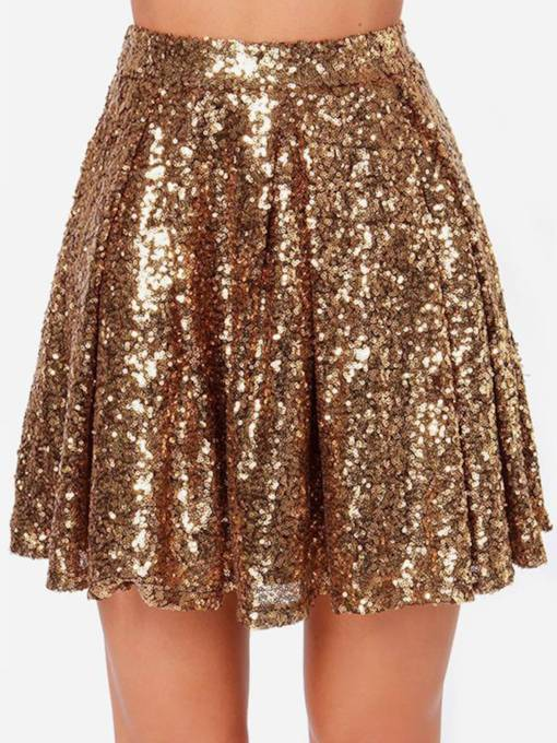 Winter Sexy Gold Sequins Pleated Women's Mini Skirt