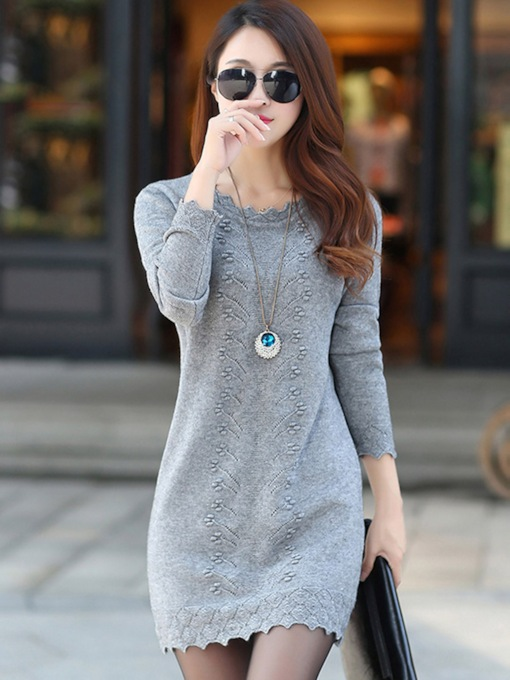Long Sleeve Round Neck Pullover Women's Bodycon Dress