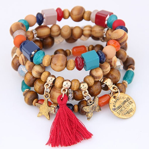 Tassel Star Wooden Beads Multilayer Bracelet