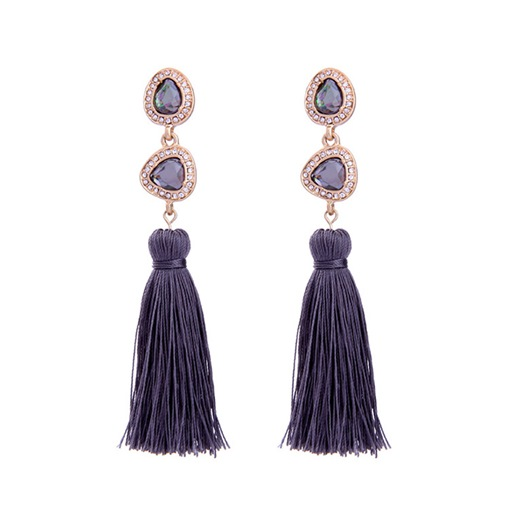 Alloy Diamante Ultra Violet European Tassel Earrings