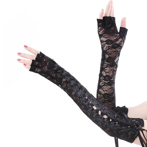 Half-Finger Lace Rivet Costume Party Gloves
