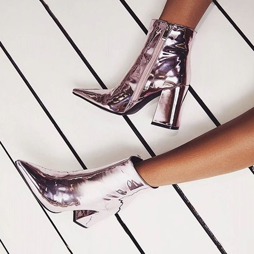 Patent Leather Chunky Heel Women's Glossy Boots Fashion Shoes