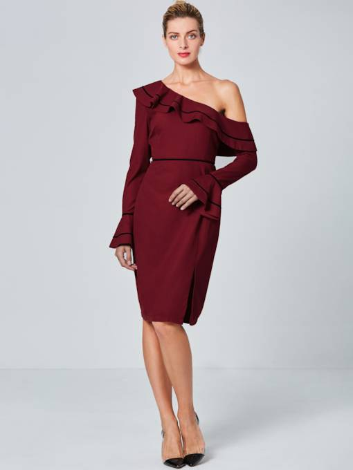 Burgundy One Shoulder Bell Sleeve Women's Sheath Dress