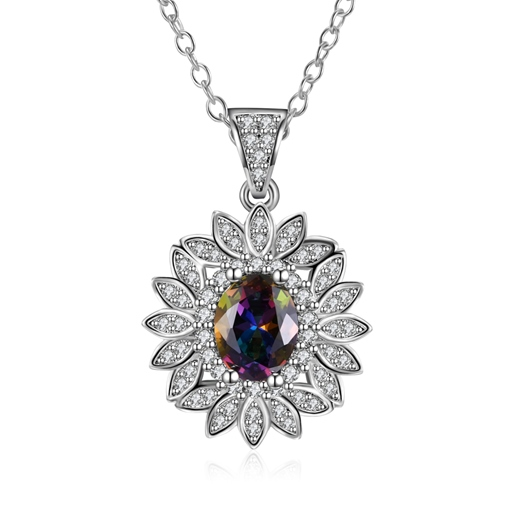 All Matched Flower Shaped Overgild Bronze Zircon Necklace