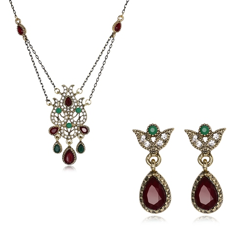 Pear Shaped Diamante Hollow Out Hyperbole Jewelry Sets