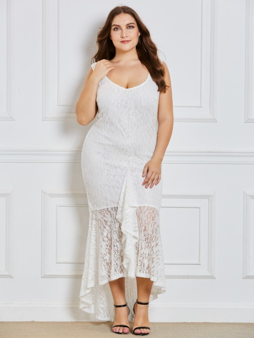 82a9e0324ad All White Plus Size Maxi Dress ! Plus Size White Asym Lace Women s ...