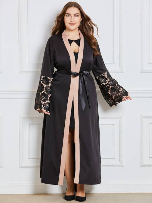 Black Lace up Lace Patchwork Women's Maxi Dress