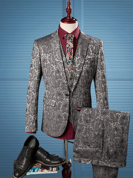 Notched Collar Floral Printed One Button Slim Fit Men's Dress Suit