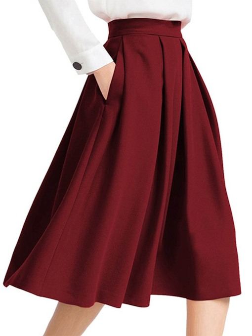 Pleated High Waist Pocket Expansion Women's Skirt