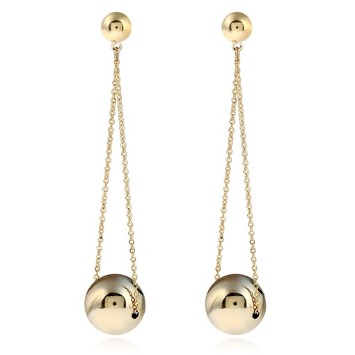 Unique Metal Ball Link Chain Exaggerated Styles Drop Earrings