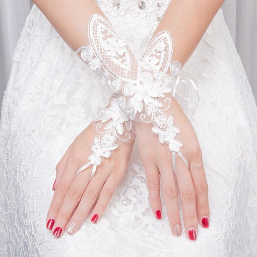 Short Appliques Fingerless Wedding Gloves
