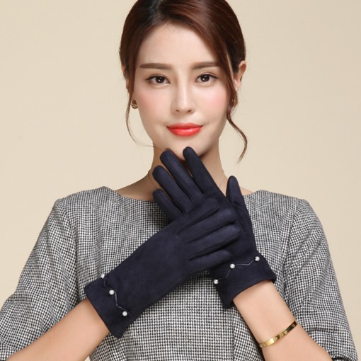Imitation Pearl Goat Wool Touch Screen Gloves