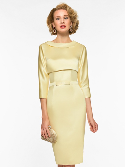 Strapless Knee-Length Mother of the Bride Dress with Jacket