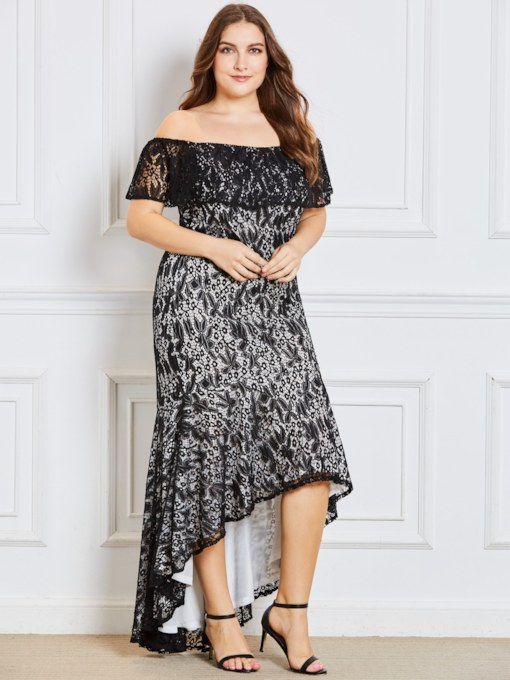 Off Shoulder Lace Plus Size Women's Maxi Dress