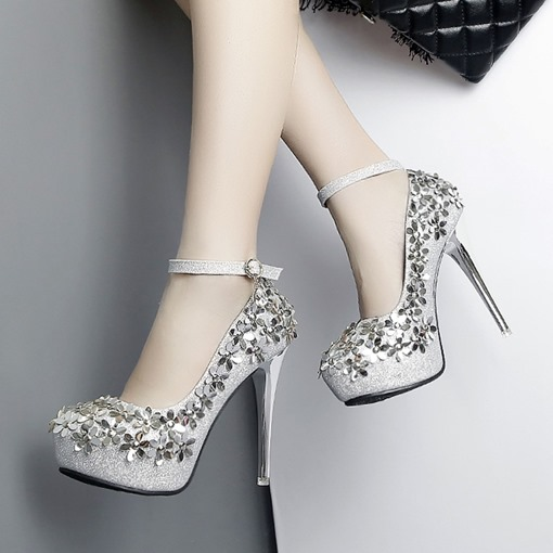 Platform Shoes Sequin Appliques Floral High Heels for Women